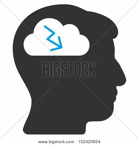 Brainstorming vector pictograph. Style is flat graphic bicolor symbol, blue and gray colors, white background.