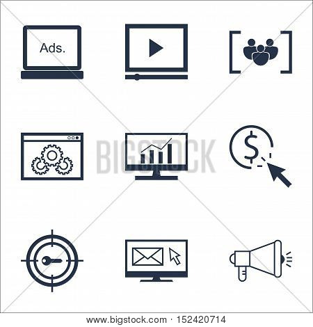 Set Of Seo Icons On Media Campaign, Market Research And Website Performance Topics. Editable Vector