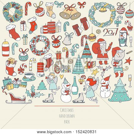 Christmas set of hand drawn doodles in simple graphic style. Vector colorful illustration with christmas accessories as christmas tree decoration santa and more in blue red yellow colors on beige.