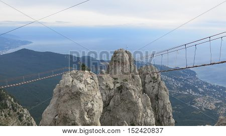 Rock against the sky and the sea, the mountain Ai-Petri, town of Yalta