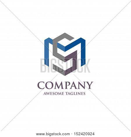 Letter MS logo set, strong elegant classy concept. creative letter SM template logo set
