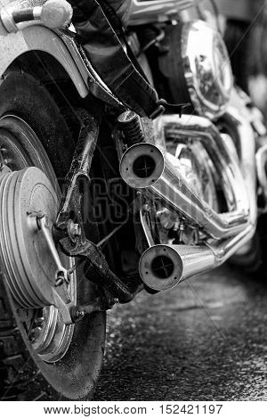 Exhaust Pipes And Rear Wheel Of Motocicle