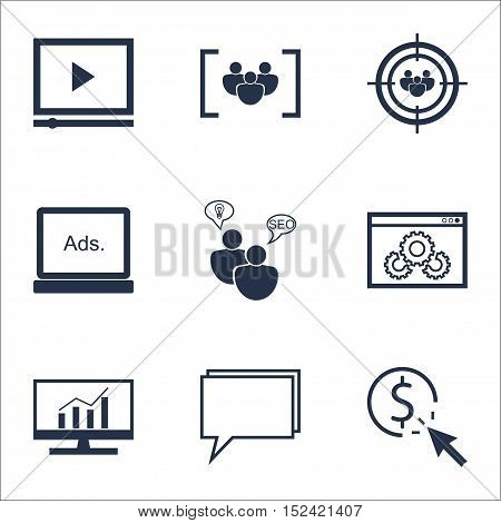 Set Of Marketing Icons On Seo Brainstorm, Ppc And Focus Group Topics. Editable Vector Illustration.
