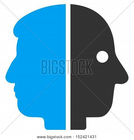 Dual Face vector icon. Style is flat graphic bicolor symbol, blue and gray colors, white background.