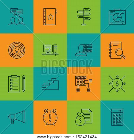 Set Of Project Management Icons On Discussion, Reminder And Board Topics. Editable Vector Illustrati