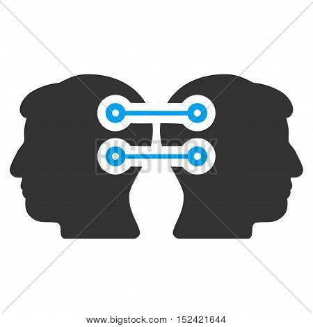 Dual Heads Interface Connection vector pictograph. Style is flat graphic bicolor symbol blue and gray colors white background.