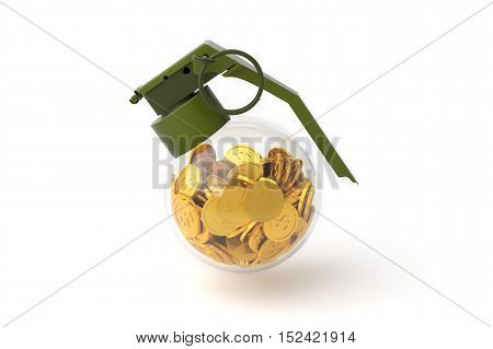 Business Money Concept, Grenade and Money, Bomb with coin. 3D illustration