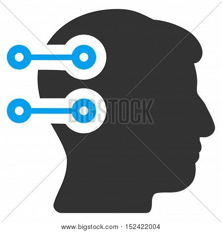 Head Connectors vector icon. Style is flat graphic bicolor symbol, blue and gray colors, white background.