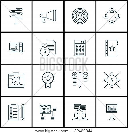 Set Of Project Management Icons On Present Badge, Announcement And Computer Topics. Editable Vector