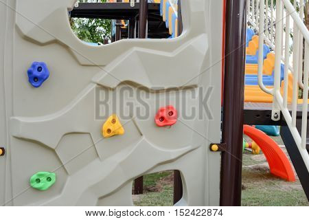 Climbing wall for kids in playground area
