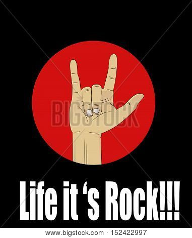 Hand drawn Rock t shirt pattern. Rock and Roll hand vector sign