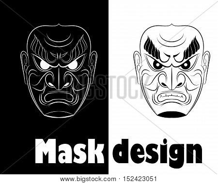 Illustration of fear monochrome samurai mask. Vector illustration