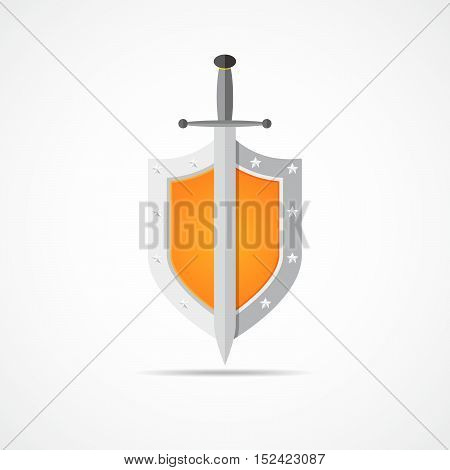 Shield and sword in flat design. Orange shield and sword icon isolated. Vector illustration.