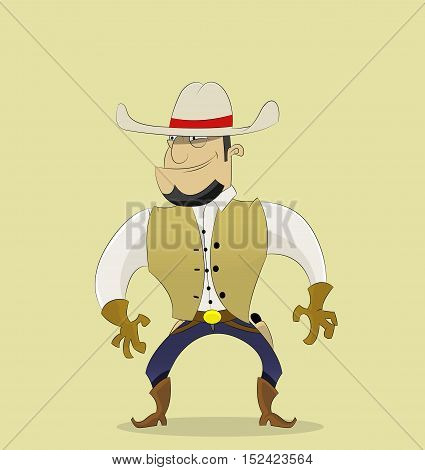 Fun cartoon cowboy in hat stands at ready to start shooting. Vector illustration