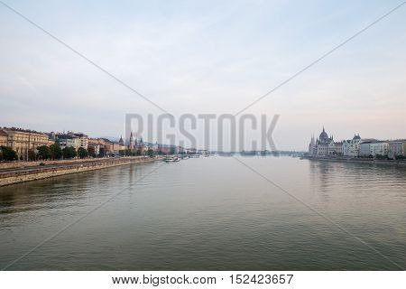 Danube river - panorama. Danube in Budapest Hungary. View of the Danube in Budapest.