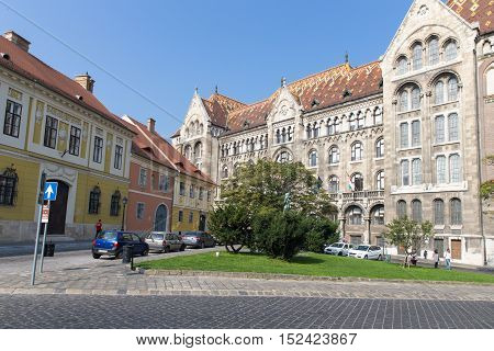National Archives of Hungary. Buda. Budapest Hungary. Old beauty building of Budapest.