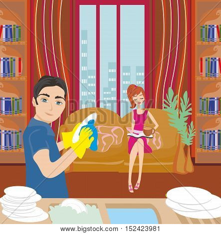Husband washing dishes at home , vector illustration