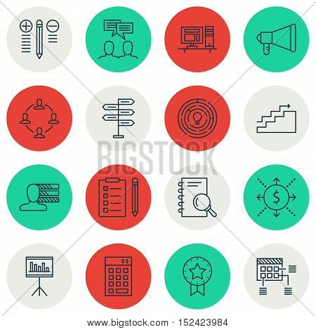 Set Of Project Management Icons On Personal Skills, Growth And Collaboration Topics. Editable Vector