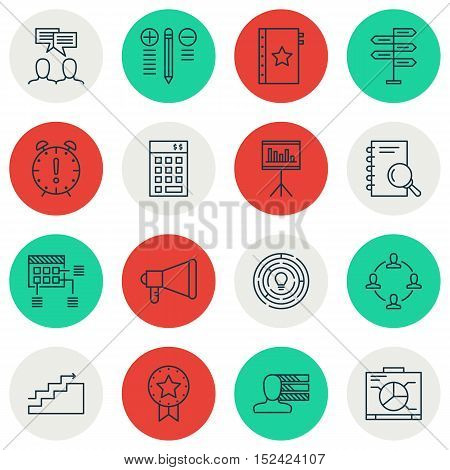 Set Of Project Management Icons On Personal Skills, Present Badge And Decision Making Topics. Editab