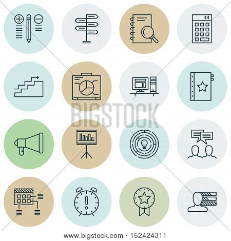Set Of 16 Universal Editable Icons For  Topics. Includes Icons Such As Discussion, Present Badge, Pe