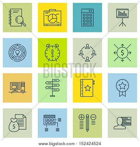 Set Of Project Management Icons On Schedule, Report And Personal Skills Topics. Editable Vector Illu