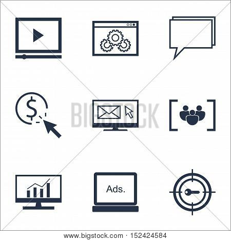 Set Of Seo Icons On Ppc, Keyword Marketing And Digital Media Topics. Editable Vector Illustration. I