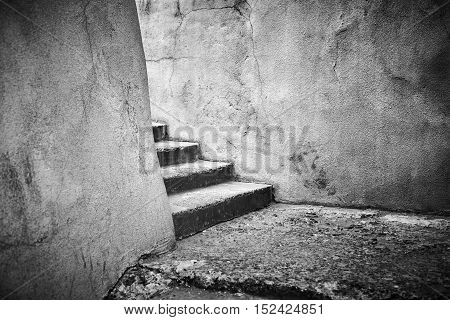 old broken stairs black and white photography