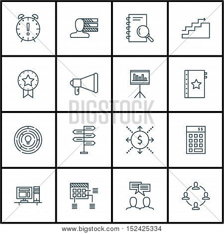 Set Of Project Management Icons On Computer, Present Badge And Discussion Topics. Editable Vector Il