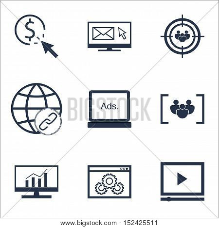 Set Of Advertising Icons On Website Performance, Questionnaire And Focus Group Topics. Editable Vect
