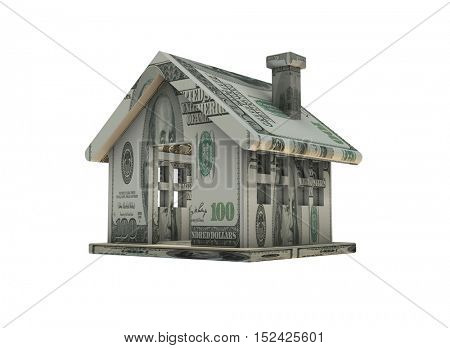 House made with dollar banknotes - 3d rendering