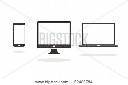 Device Icons: Smartphone, Desktop Computer And Laptop