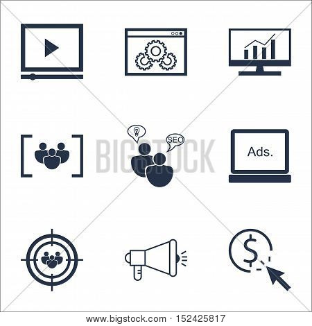 Set Of Advertising Icons On Focus Group, Ppc And Questionnaire Topics. Editable Vector Illustration.
