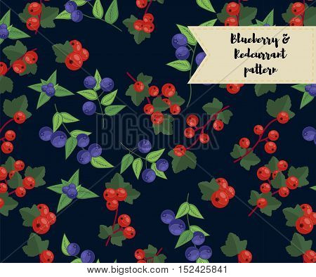 vector blueberry and redcurrant seamless pattern. background, pattern, fabric design, wrapping paper cover