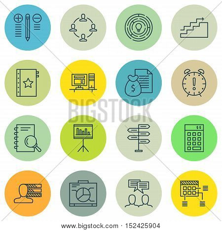 Set Of Project Management Icons On Discussion, Presentation And Schedule Topics. Editable Vector Ill