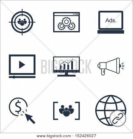 Set Of Marketing Icons On Focus Group, Video Player And Questionnaire Topics. Editable Vector Illust