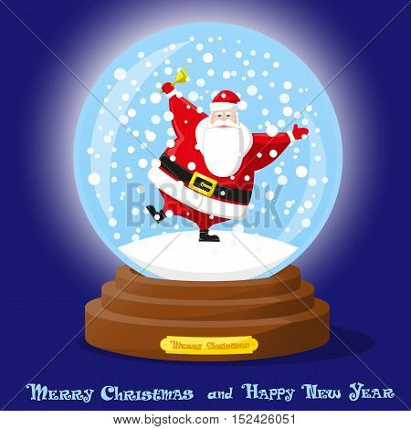 Cute glass Snow Globe. Snowflakes and dancing funny Santa Claus. Merry Christmas and Happy New Year souvenir. Cartoon style. Concept design poster banner flyer greeting card. Vector illustration