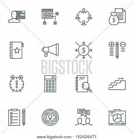 Set Of Project Management Icons On Schedule, Money And Innovation Topics. Editable Vector Illustrati