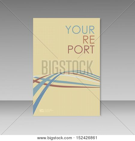 Wave line on brochure background. Abstract Vector.