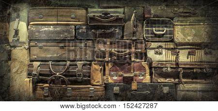 Retro  luggages bag background