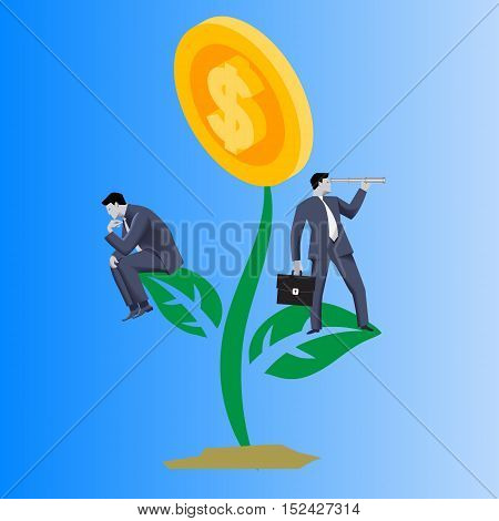 Growing profit business concept. Confident businessmen in business suits stand on growing plant with golden coin instead of flower . Vector illustration. Use as template logo background