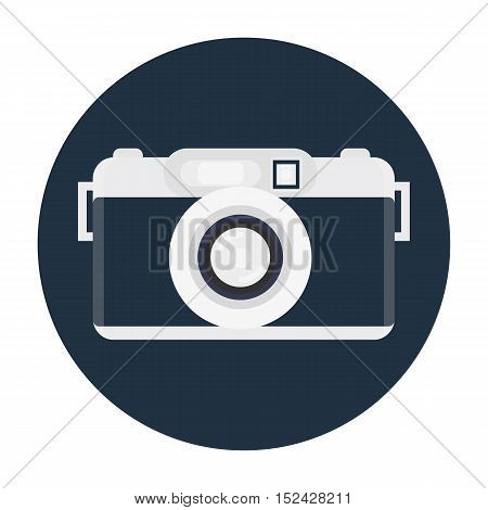 Retro Camera Or Vintage Camera In A Flat Style On A Colored Background. Old Camera With Strap. Isola