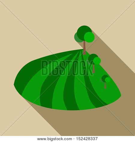 Field with trees icon. Flat illustration of field with trees vector icon for web