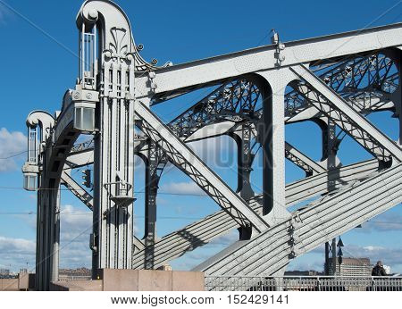 Architectural details of the bridge over the river Neva