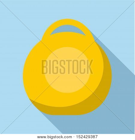 Yellow weight icon. Flat illustration of yellow weight vector icon for web