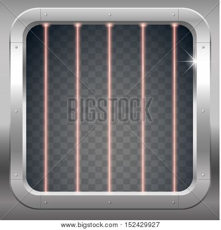 Fantastic steel portal prison cell laboratory or a bank with a grid of laser beams. Vector graphics