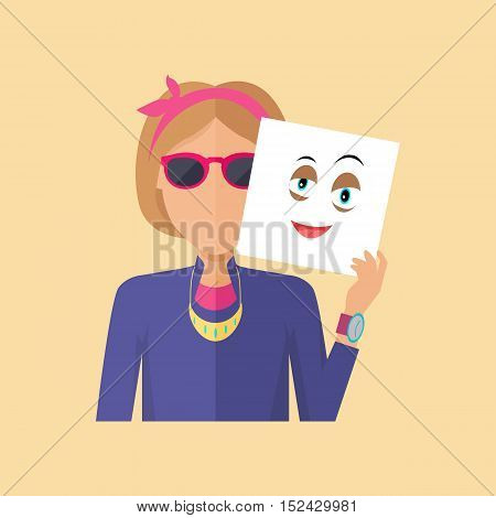 Young sexy girl in glasses with sheet of paper expressing emotion of hapiness. Person covers real feelings under artificial mask. Part of series of people in different emotional states. Vector