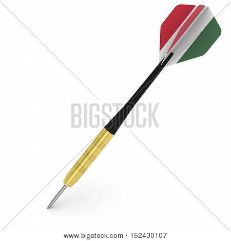 Dart With Hungarian Flag Flight Isolated On White 3D Illustration