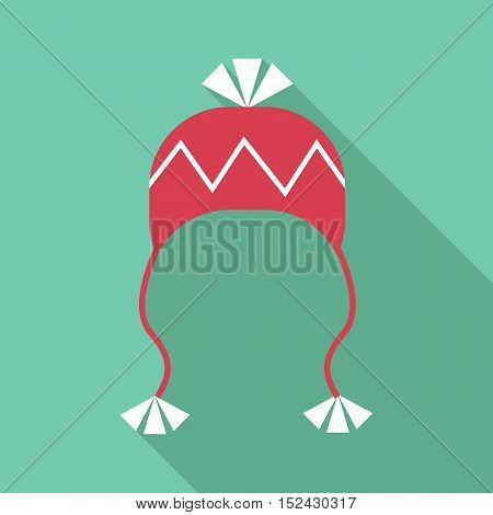 Hat with pompom icon. Flat illustration of hat with pompom vector icon for web