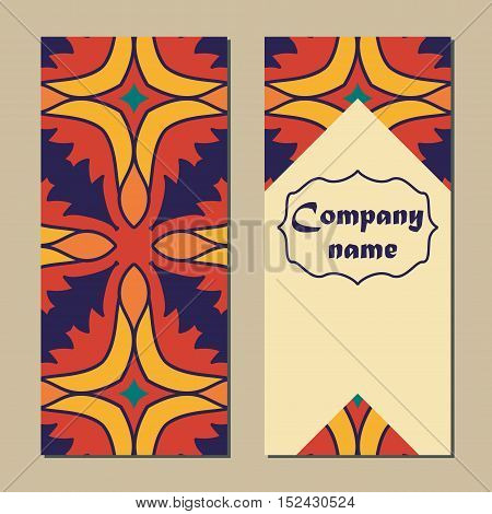 Vector set of colorful vertical banners for business and invitation. Portuguese Moroccan; Arabic; asian ornaments. Geometric and floral motifs