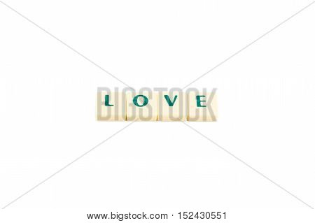 Letters forming the word love on a white background